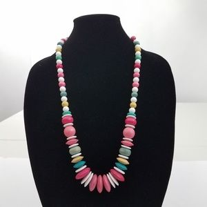 Jewelry - Pink Beaded Wood Necklace Pastel Yellow Green Big